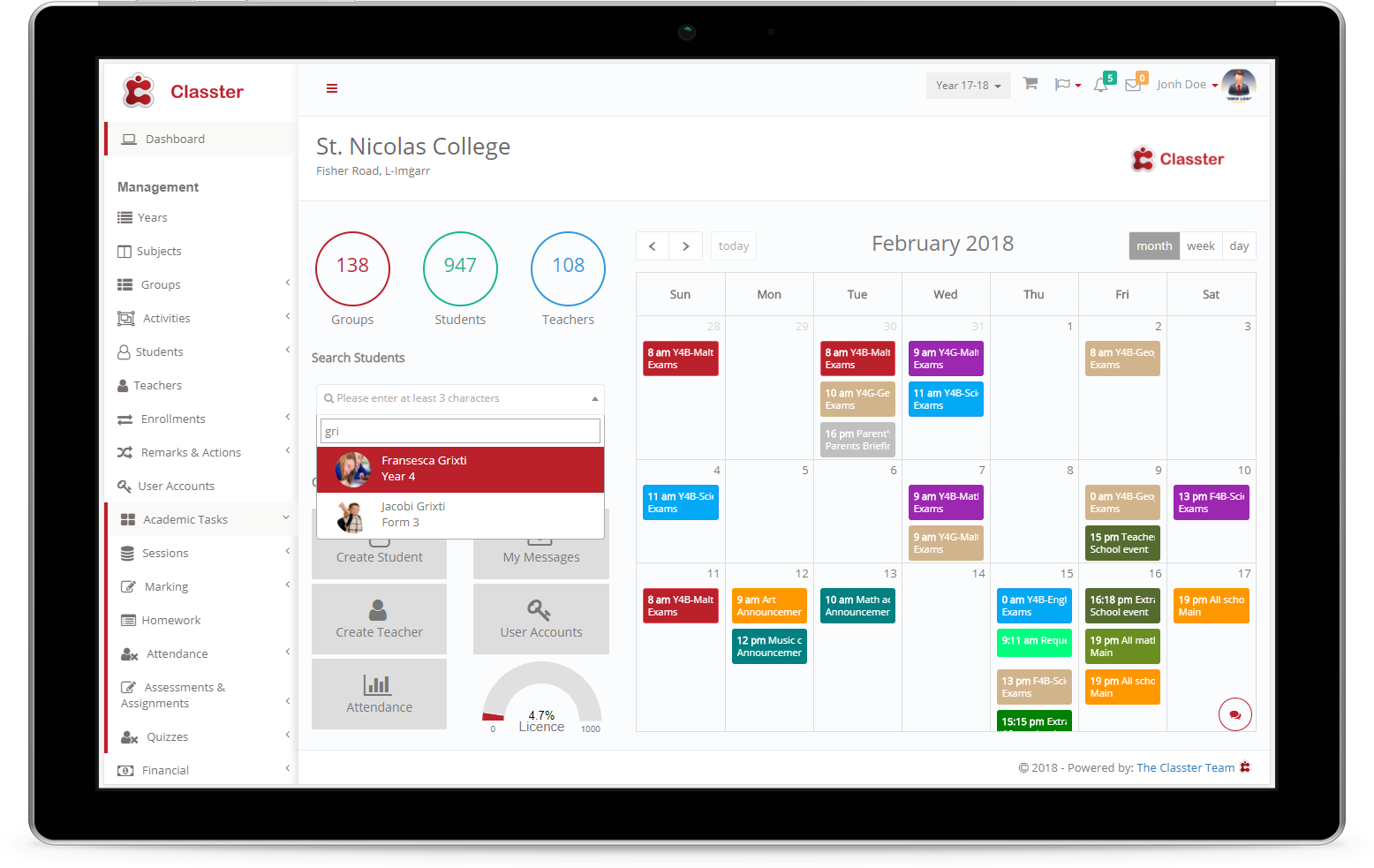 Student Information Management System Classter All In One Solution